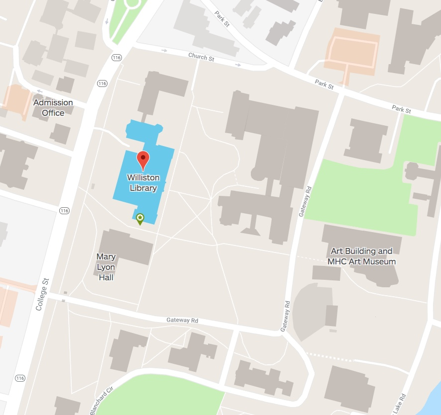 Map of Location of Williston Library on Mount Holyoke College campus