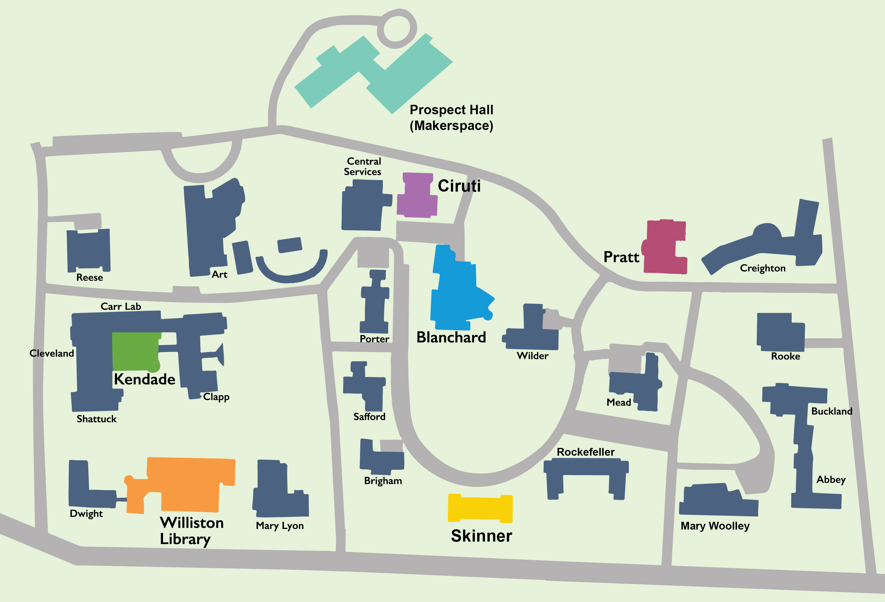 Map of campus highlighting the seven buildings with public multi-function devices.