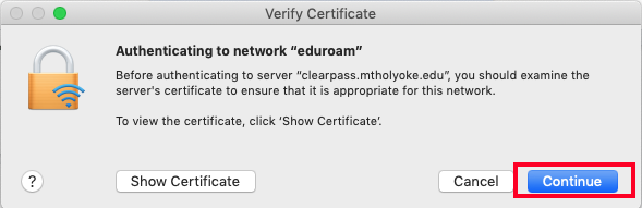 Screenshot of a popup window encouraging users to examine the server's certificate. Continue button is highlighted.
