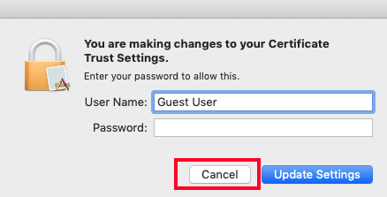 Screenshot of a popup window prompting user for credentials. Cancel button is highlighted.