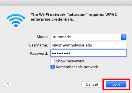 Screenshot of the login window to connect to eduroam on a Mac, with the join button highlighted.