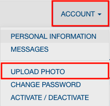 Screenshot of the Account drop down menu found on the OneCard website. The Account and Upload Photo buttons are highlighted in red.