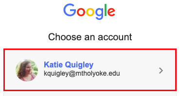 Screenshot of a Google screen prompting users to select their account. The MHC account is highlighted in red.
