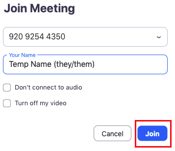 Screenshot of the Join Meeting window with a temporary name and pronouns entered. The join button is highlighted in red.