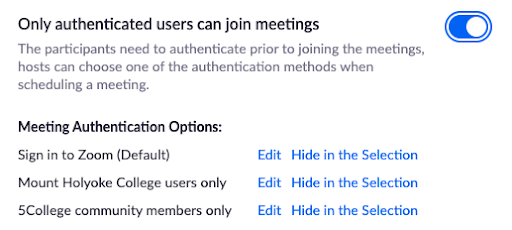 Zoom authentication settings