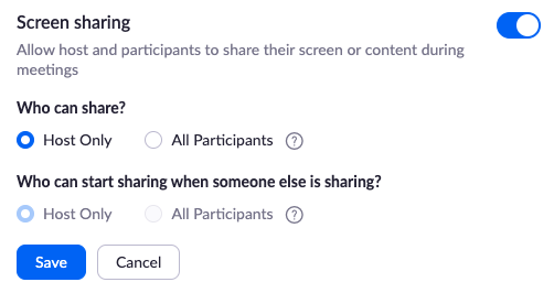 Zoom screen sharing settings