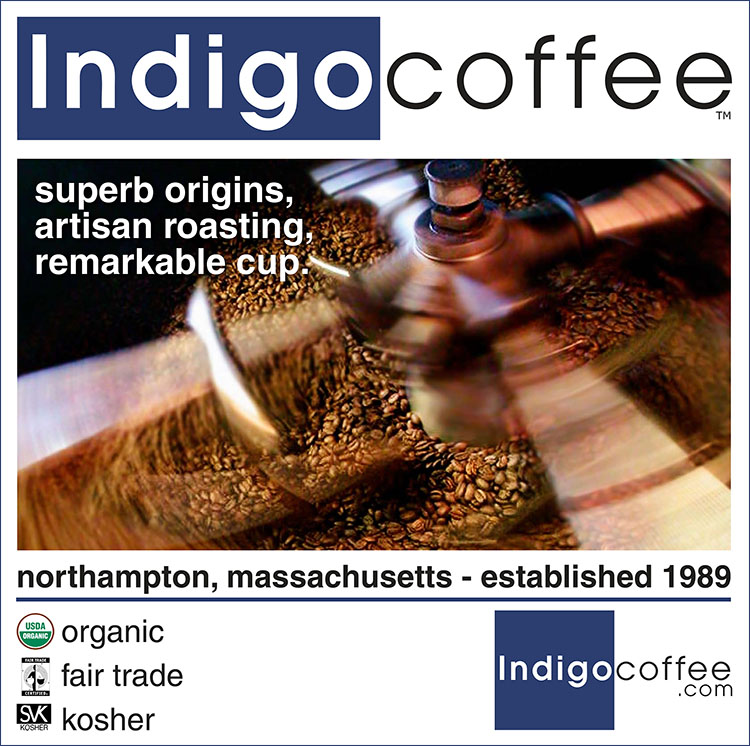 Library café photo: Indigo coffee, superb origins, artisan roasting, remarkable cup.  Northampton, Massachusetts -- established 1989, organic, fair trade, kosher, indigocoffee.com